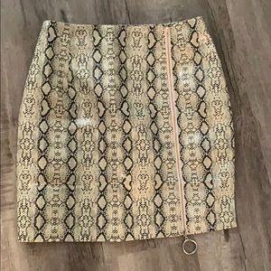 Snakeskin mini skirt